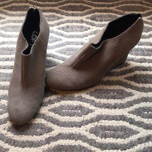 Grey suede loft booties